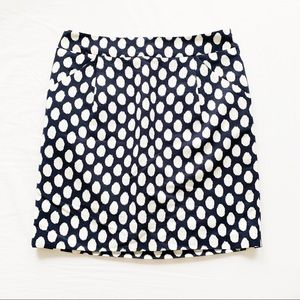 Ann Taylor LOFT Polka Dot Navy & White Skirt